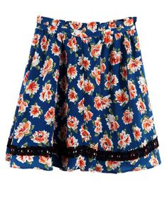 Stiching Lace Blue Floral Skirt With Belt US$59.00