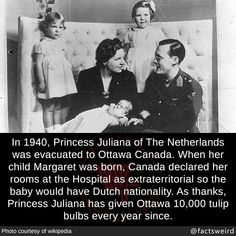 In Princess Juliana of The Netherlands was evacuated to Ottawa Canada. When her child Margaret was born, Canada declared her rooms at the Hospital as extraterritorial so the baby would have Dutch nationality. As thanks, Princess Juliana has. Wtf Fun Facts, Funny Facts, Brian's Song, Ottawa Canada, Funny Memes About Girls, Cool Animations, Interesting History, Faith In Humanity, History Facts