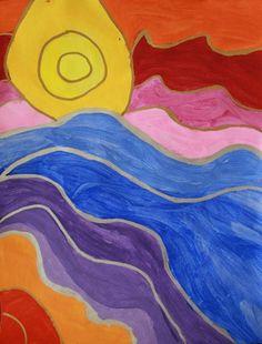 Ted Harrison Value Shaded Landscapes-Joy251's art on Artsonia