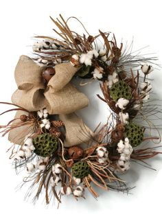 Primitive Cotton Boll Wreath, Raw Cotton Bolls, Pinecone Decor, Primitive Rusty Bells, Green Pods, Burlap Bow, Fall Wreaths, Indoor Wreaths
