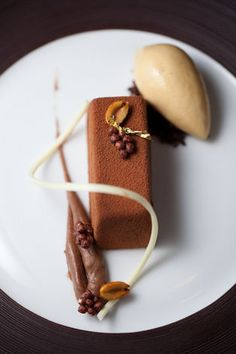 Malted Milk Bavarian, Chocolate Pudding, Peanut Sablé, and Salted Caramel Custard paired with Kopke 12-year Tawny Port