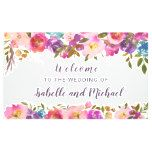 Wedding Welcome Purple and Pink Watercolor Floral Banner #weddinginspiration #wedding #weddinginvitions #weddingideas #bride