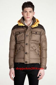 Moncler Outlet UK Rentilly Men Coffee Yellow Down Jacket