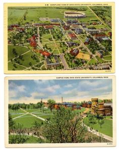 Lot of 2 Ohio State University at Columbus Linen Postcards by Curt Teich & Co.