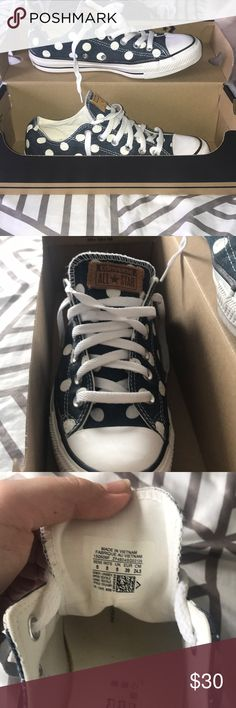 Rare Polka dot converse Super cute! Never worn and in perfect condition. (Denim look but very nice) Converse Shoes Sneakers