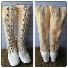 Vintage 1960s Boots White Go Go Lace Up Granny by bycinbyhand