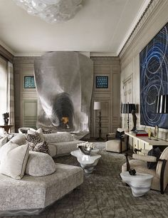 Such as striking living-room !!!... Modern details meet classic design ...Altho statement maker prize goes to the organic sofa and that shimmering silver fireplace ❤️... by @ingraodesign #interiordesign #architecture #designinspiration #luxurylife #luxuryhomes #design #luxuryhomesmiami #Miami #fortlauderdale #Palmbeach #interiors #designer #architect #homedecor #interiorstyling #decor #realestate #homedesign #elledecor #interiordecorating #livingroominspo #architecturelovers #interiorstyle