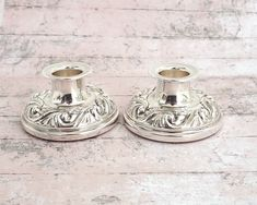 Silver plated candle holders with embossed borders, Hecworth, Australia by CardCurios on Etsy Ginger Jars, Home Decor Items, Vintage Silver, Silver Plate, Plating, Candle Holders, Candles, Australia, Etsy