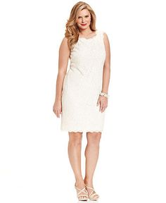 Adrianna Papell Plus Size Dress, Sleeveless Lace Sheath - Plus Size Dresses - Plus Sizes - Macys