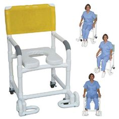 "Deluxe Shower Chair with Elongated Soft Seat & Footrest - PVC -   NEW User-Friendly Individual Footrest System. Stainless steel casters. Internal Width: 18"". External Width: 22. Threaded Stem Casters: 3"" x 1 1/4"". Overall Size: 40"" H x 22"" W x 18"" D. Seat Height: 21"". Capacity: 300 lbs. Color choices: yellow, tan, mauve, forest green, red, black, grey, light blue, royal blue, white, navy, teal (mesh only), mint (vinyl only), clear (vinyl only), OR for an additional cost."