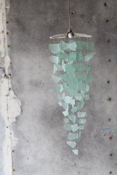 Sea Glass & Starfish Mobile - Solid Seafoam Chandelier - Default Title