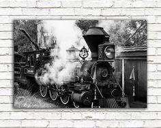 Disney art, Disney home decor, Disney poster, train photo, kids room, nursery art, steam locomotive, Magic Kingdom, black and white photo