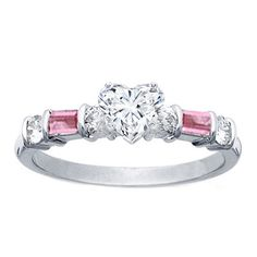 Engagement Ring - Heart Shape Diamond Engagement Ring Pink Sapphires Baguettes Band  - ES116PHS