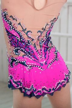 Beautiful designer rhythmic gymnastics leotard handmade,worn a few time for the rhythmic gymnastics. For the rhythmic gymnastics competition. Design drawing on fabric acrylic paints. The leotard for the rhythmic gymnastics competition made with over 2200 rhinestones very high quality.