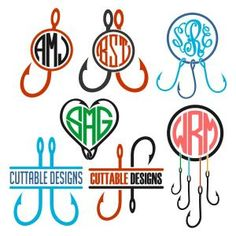 Fishing Hooks Monogram Split, Heart Shape and Round Circle Frame Cuttable Design Cut File. Vector, Clipart, Digital Scrapbooking Download, Available in JPEG, PDF, EPS, DXF and SVG. Works with Cricut, Design Space, Sure Cuts A Lot, Make the Cut!, Inkscape, CorelDraw, Adobe Illustrator, Silhouette Cameo, Brother ScanNCut and other compatible software.
