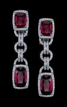 rubellite and diamond earrings.