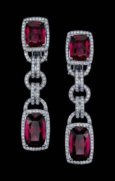 Robert Procop Parisian deco rubellite and diamond earrings.