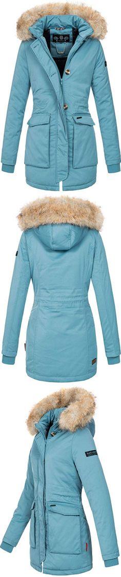 Winterjacke Herren Parka Gefüttert Baumwolle Mantel mit Pelzkragen Jacke Warm Outdoor Kapuzenjacke mit Fell, 03 Blau, Gr. S
