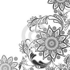 Motif oriental en noir et blanc