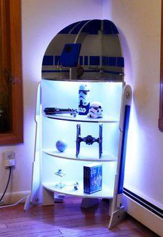 Star Wars R2-D2 Four Shelf Corner Case Cabinet Woodworking Plans (with instructions for adding LED Lights!)