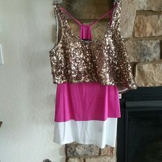 Tank top with sequin crop top Pink and white tank with sleeveless gold  crop top Rock & Republic Tops Crop Tops
