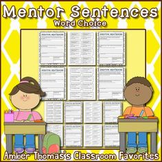 Get these word choice worksheets to help your kids improve in writing These include mentor text sentences that are perfect for writers workshop lessons Reading Lesson Plans, Reading Lessons, Writing Lessons, Writing Skills, Writing Tips, Mentor Sentences, Mentor Texts, Fourth Grade Writing, Narrative Writing