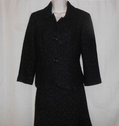 ANN TAYLOR Suit 2 pc Blazer and Skirt Black Women Size 6/8 Lined 3/4 Sleeve  #AnnTaylor #SkirtSuit
