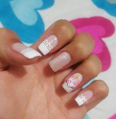 Acrilic nails Unicorn in 2020 Love Nails, Fun Nails, Pretty Nails, Unicorn Nails Designs, Cute Nail Art, Cute Nail Designs, Simple Nails, Nail Arts, Spring Nails