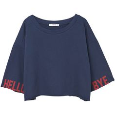 Text Crop Sweatshirt (€21) ❤ liked on Polyvore featuring tops, hoodies, sweatshirts, 3/4 sleeve tops, patterned sweatshirts, cropped sweatshirt, crop top and print crop tops