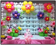 hello kitty cake table decor - Balloon wall love the flower balloons, the different sizes and textures looks more interesting than plain balloons