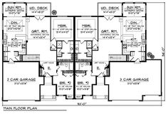 Multi-Family Plan 73453 - Traditional Style Multi-Family Plan with 3126 Sq Ft, 4 Bed, 4 Bath, 5 Car Garage Duplex Floor Plans, House Floor Plans, Home Design Plans, Plan Design, Duplex Design, House Design, Art Niche, Family House Plans, Family Homes