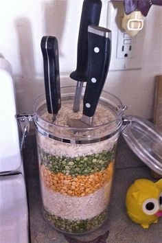 DIY Knife Block with Lentils and Rice