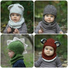 KNITTING PATTERN with crochet detailing - The Balaclava Bundle knitting for beginners knitting ideas knitting patterns knitting projects knitting sweater Baby Knitting Patterns, Knitting For Kids, Loom Knitting, Free Knitting, Knitting Projects, Crochet Projects, Crochet Patterns, Sewing Patterns, Cowl Patterns