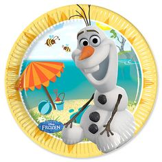 1 X 8 Disney's Frozen Summer Olaf Snowman Party Disposable Dessert Paper Plates in size features a charming illustration of Olaf the summer loving snowman from Disney's Frozen finally enjoying a sunny summer's day. Every pack includes 8 paper plates. Olaf Birthday Party, Olaf Party, Snowman Party, Summer Birthday, 2nd Birthday Parties, Olaf Snowman, Party Party, Beach Party, Birthday Ideas