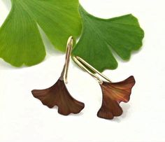 Ginkgo Leaf Earrings Copper brown patina Tiny. 122mc by Ginkgo, $26.00