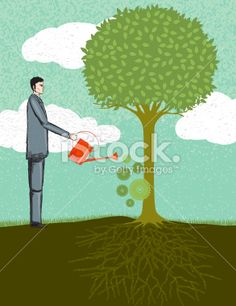 Businessman Watering a Tree. Business Growth Concept Royalty Free Stock Vector Art Illustration