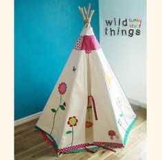 Childrens teepee tipi customised play tent by wildthingsdresses, $399.00