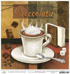 Cioccolata - Counted cross stitch pattern in PDF format by Maxispatterns on Etsy Coffee Wall Art, Coffee Latte Art, Coffee Type, Vintage Pictures, Vintage Images, Vintage Posters, Vintage Coffee Signs, Café Chocolate, Coffee Pictures