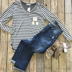 """#NEWARRIVALS  #Grey #Stripe #Top $24.99  #7forallmankind #Josefina $209.99  #Tok #Pewter #Wedges $109.99 #PinkPanache #Earrings $39.99 We #ship! Call us to order! 903.322.4316 #shopdcs #shoplocal #love #instashop"" Photo taken by @daviscountrystore on Instagram, pinned via the InstaPin iOS App! http://www.instapinapp.com (09/10/2015)"
