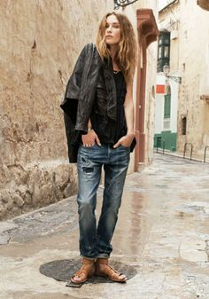 Leather Button-up Motorcycle Jacket Madewell Spring 2014, Erin Wasson on location in Malta #denimmadewell