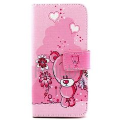 Wallet Style Stand TPU+PU Leather Case For iPhone 6 6S  Pink Bear