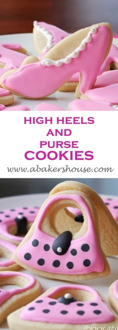 High Heels and Purses cookies are delightful sugar cookies decorated with royal icing. Bring on the pink cookies for these feminine girly cookies. Made by Holly Baker at www.abakershouse.com