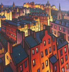 Rooftops Over Edinburgh - Jim Edwards Cityscape Art, Landscape Paintings, Art Paintings, Landscapes, Unique Buildings, Building Art, City Illustration, Art Courses, Urban Life