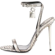 TOM FORD Lock Ankle-Wrap Python 110mm Sandal ($1,490) ❤ liked on Polyvore featuring shoes, sandals, ankle strap high heel sandals, silver ankle strap sandals, adjustable strap sandals, ankle strap sandals and strappy sandals