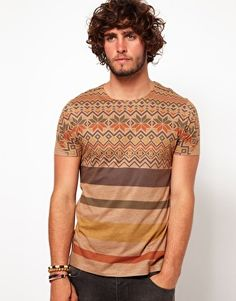 Enlarge ASOS T-Shirt With Fairisle Stripe Print