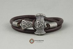 Viking Bracelet with Thor's Hammer Leather Wristband  With
