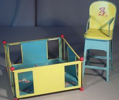 Vintage J Chein Toy Tin Litho Doll Furniture High Chair Playpen Whimsical 50'S