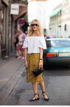 Outfit Ideas: What to Wear to Work in the Summer - Pair a lace pencil skirt with a feminine off-the-shoulder top and lace-up shoes.