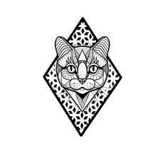 Custom geometric cat design by Evan.