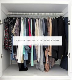 Last week we talked simple bathroom upgrades. Today the closet is taking its turn with these 5 ways to instantly make yours look and feel less like a fabric graveyard and more like a well-tended ga… Walk In Shower Enclosures, Small Closet Space, Sliding Door Design, Simple Closet, Walk In Shower Designs, Closet Organization, Organization Station, Household Organization, Organizing